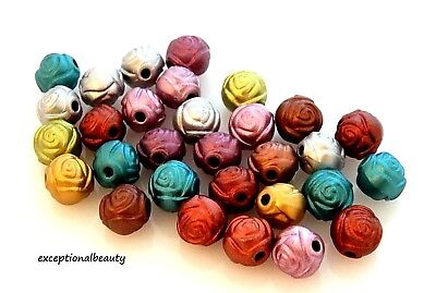 100 Assorted Metallic Satin Color Acrylic 8mm Rosebud Rose Textured Round Beads -