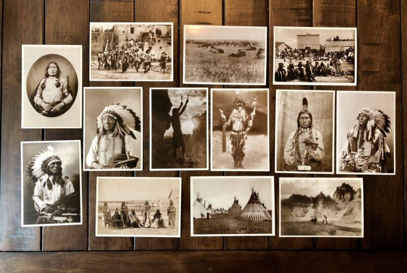 Native American Indian Vintage Photo Postcard Group Nice Quality 13 Pieces