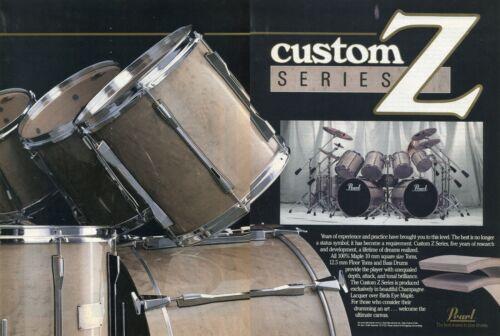 1989 2pg Print Ad of Pearl Custom Z Series Drum Kit Birds Eye Maple