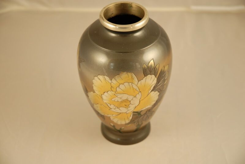 Japanese Vase with Silver Inlay