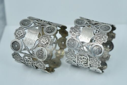 1928 Pair Chinese Export Sterling Pierced Character Napkin Ring Cash Coin Floral