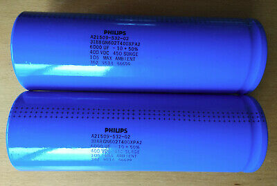 Set Of Two 2 Philips Electrolytic Capacitors 6000uf 400v 105c For Tesla Coils