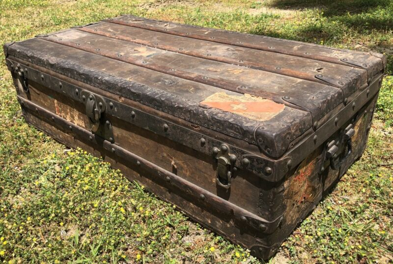 Luxury Early Antique Louis Vuitton Steamer Trunk Serial #144218