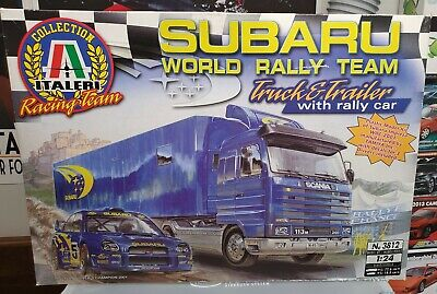 ITALERI 3812 1:24 SUBARU WORLD RALLY TEAM Truck Trailer w/rally car Tamiya