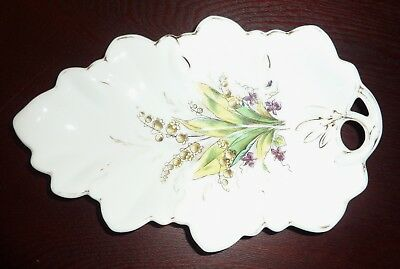 Vintage Ceramic/Porcelain Leave Shape Floral Jewelry/Candy Dish/Spoon Rest