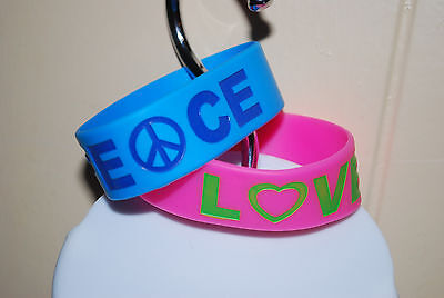 LOT Rubber Band Bracelets Pink Love Blue Peace Girls Teens Funky Jewelry NWOT
