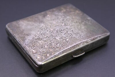 "Antique ""French Sterling"" .950 Silver Hinged & Ornately Engraved Cigarette Case"