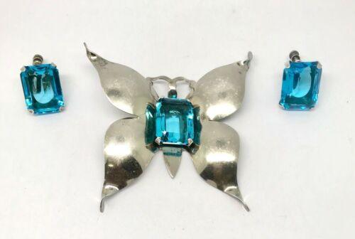 Art Deco Sterling Silver Aqua Blue Glass BUTTERFLY Brooch/ Pendant  Earring Set