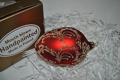 New Holiday Mouth Blown Glass FABERGE EGG Ornament RED GOLD Handpainted Poland