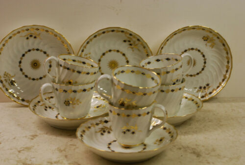 6 cup-saucer tea sets, crescent marked,  Worcester ?, Shreve-Crump & Low labels