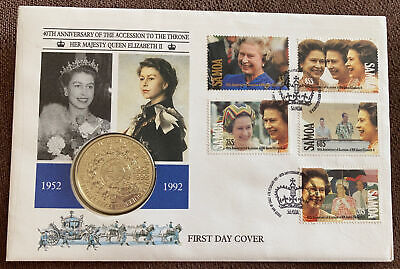 1992  FDC $1 dollar coin cover -Samoa - Queen Royal Anniversary 'Toning' Ref059
