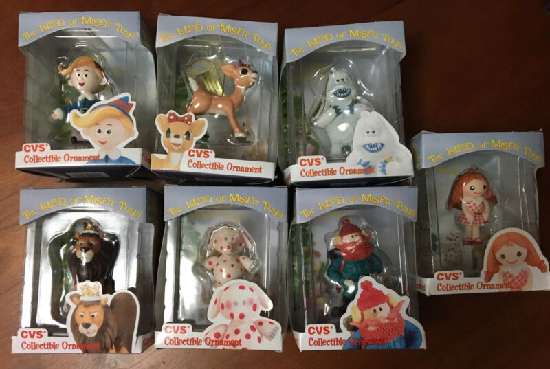 Lot of 7 CVS Enesco 1999 Rudolph the Red Nose Reindeer Ornaments Misfit Toys
