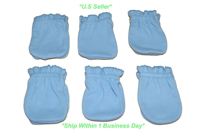 6 Pairs Cotton Newborn Baby/infant Boy Anti-scratch Mittens Gloves - Light Blue