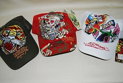New -  Ed Hardy Baseball Caps, Qty 3, 1-Red 1-Wht 1-Grn - One Size