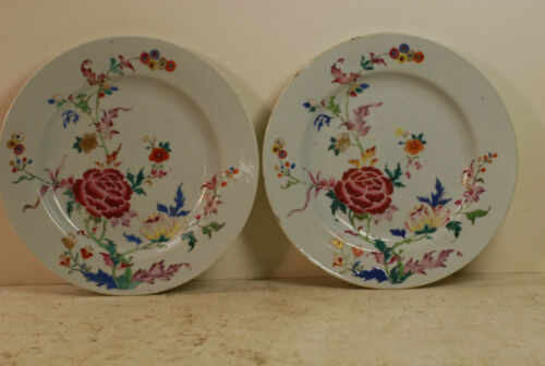 """Pair of famille rose plates, Qianlong period, 9 1/8"""", some chips on rims."""