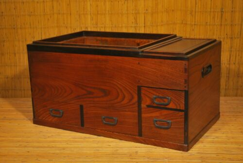 ANTIQUE JAPANESE KEYAKI WOOD NAGA HIBACHI TANSU w COPPER LINER / Coffee Table