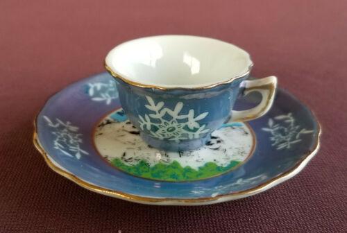 MT RUSHMORE South Dakota Vintage 1960s Souvenir CUP and SAUCER Lustre Ware Blue