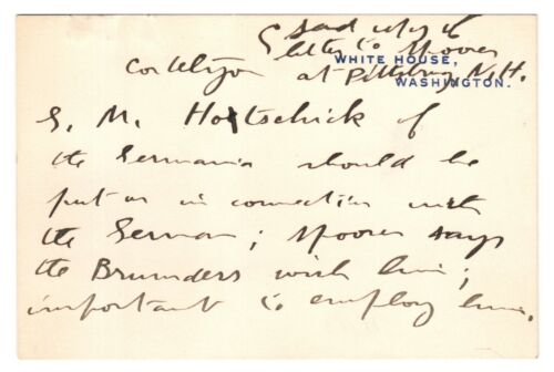 Autograph Note Handwritten by Theodore Roosevelt on White House Card - re/ WWI