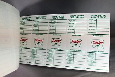 SINCLAIR Gas & Oil Station 100 SERVICE RECORD STICKER BOOK Vintage Advertising