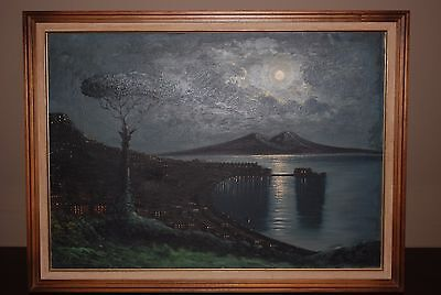 Vintage - Mid Century - Oil on Canvas - Bay of Naples at Moonlight - Romano?