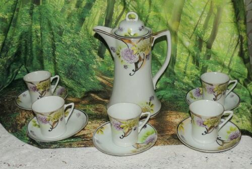 Nippon Antique Hand Painted Porcelain Chocolate Pot Violets Gold Trim w 5 cups