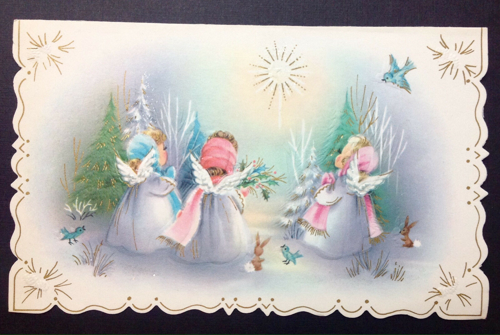 Vintage greeting cards paper collectibles angels brownies pink blue sunshine die cut vintage mid century xmas card kristyandbryce Choice Image