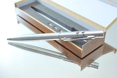 Laserpointer Kugelschreiber Metall- mit LED + Holzbox + ihrer Wunschgravur