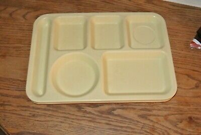 Lot Set of 3 Yellow Cafeteria School Lunch Serving Tray Melmac Vtg ABC Mfg Yellow Cafeteria Tray