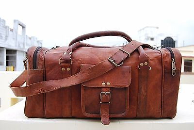 "23"" Men's genuine Leather large vintage duffle travel gym weekend overnight bag"