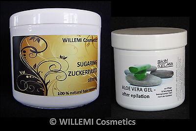 WILLEMI -   SET:  Sugaring 500g ZUCKERPASTE STRONG + ALOE VERA GEL / Enthaarung