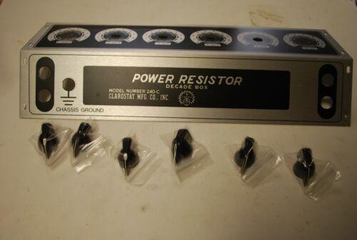 NOS Clarostat Power Resistor 240-C Decade Face plate Bezel & 6 OEM Knobs
