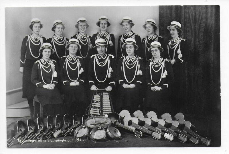 Salvation Army Band 1941 Women Songster Brigade Sweden real photo postcard