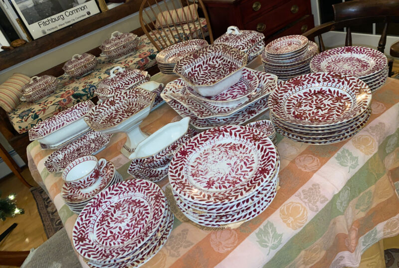 antique Beehive mark china 73 piece dinner ware set many serving dishes tureens