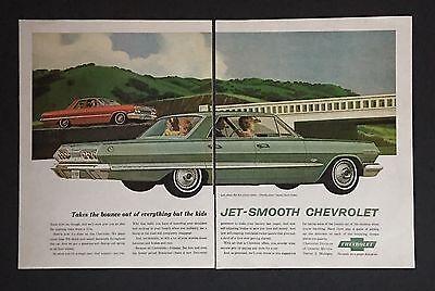 - 1963 Chevrolet Bel Air 4 Door Sedan Red & Impala Sport Sedan Green Art 2 Page Ad