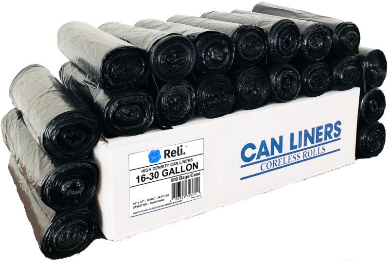 Reli. Trash Bags, 20-30 Gallon (500 count Wholesale) (Black) - High Density