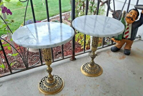 """Marble Ornate Brass Accent Table Round 18"""" Tall X 15"""" Diameter"""