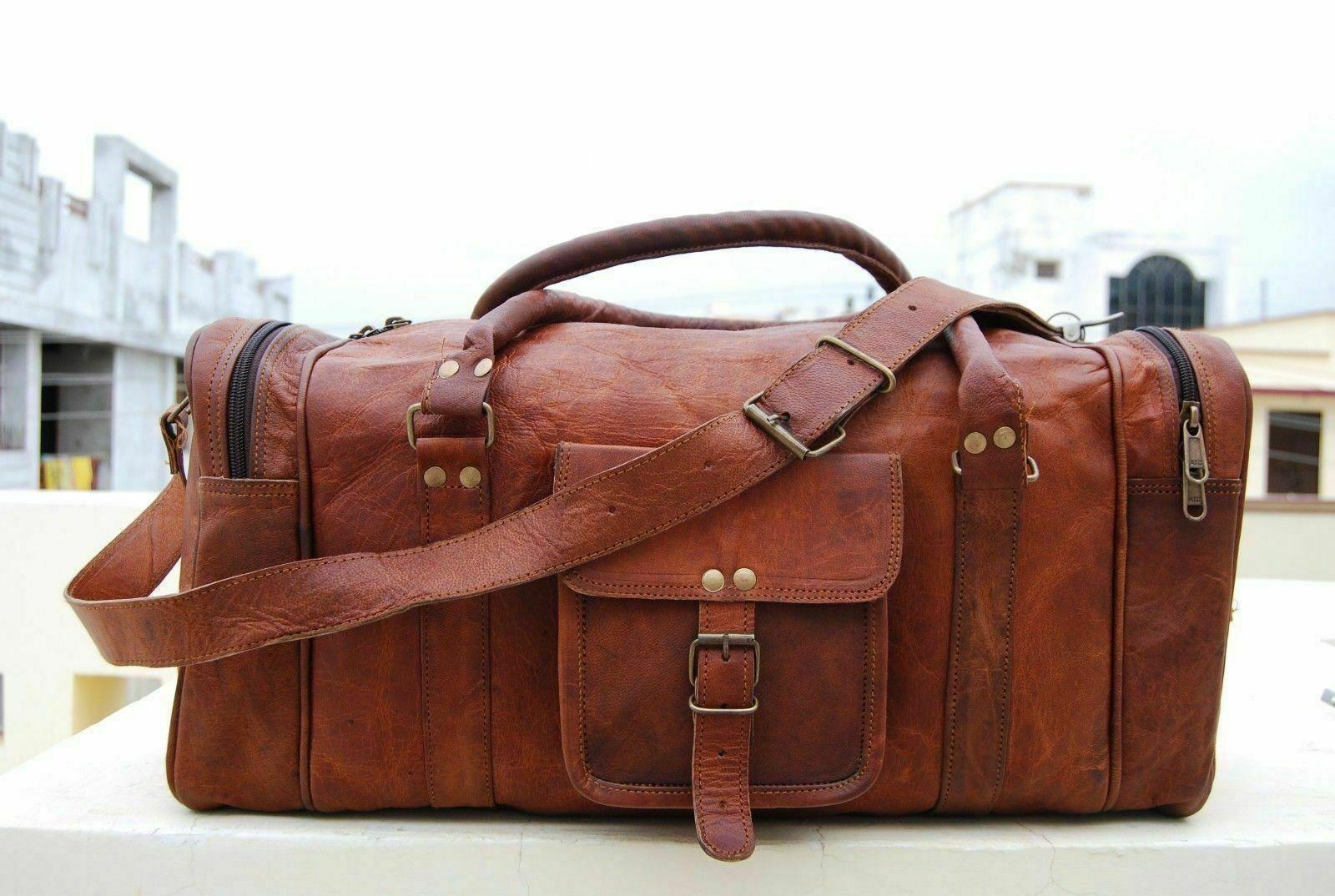 bag leather travel men luggage gym duffle