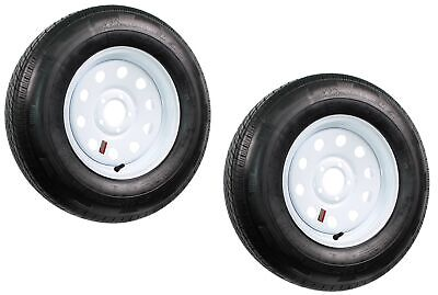 2-Pack Radial Trailer Tires w/White Rims ST225/75R15 LRD 5 Lug/4.5 Modular Wheel