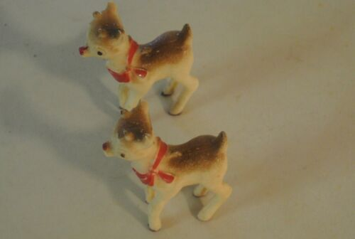 2 Vintage Rosbro Plastic Rudolph Reindeer Christmas Ornament Decor Great Shape