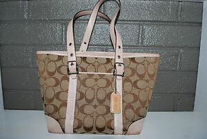 COACH-SIGNATURE-PURSE-TOTE-NO-J2J-6043-BEIGE-WITH-TAN-TRIM