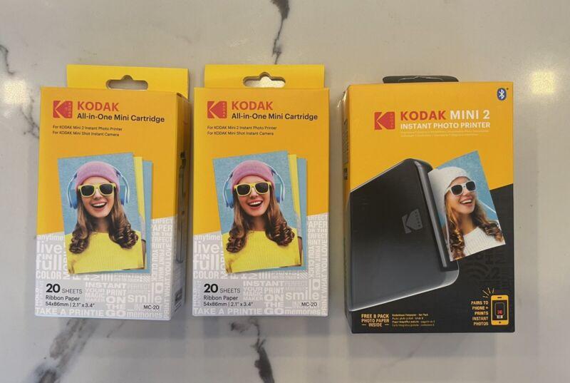 Kodak~Mini 2~Wireless Instant Photo Printer~Black Bundle + 2 EXTRA CARTRIDGES