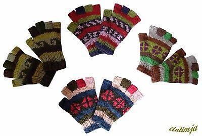 Handschuhe Wolle Fingerlose Wollhandschuhe Bunt Strick Warme Fingerlinge  Winter Warme Wolle Handschuhe