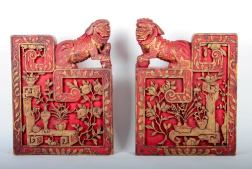 Pair of Chinese Architectural Guardian Lion Brackets