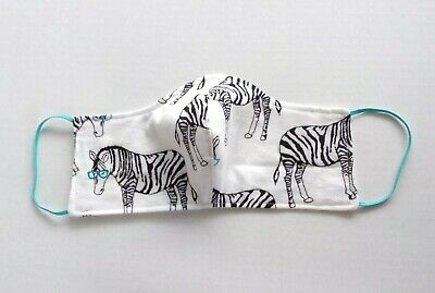 Mask Handmade Cotton Mask form fitting washable made in USA zebra white clean Handmade Clean Cotton