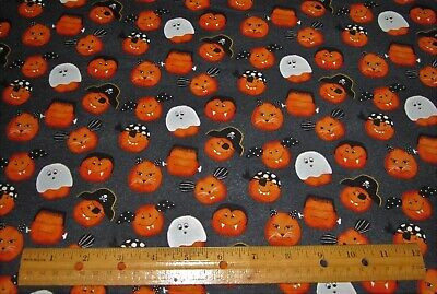 1 yard of FRANKIE GHOSTS BATS PIRATES DRACULA Faces on Black 100% Cotton Fabric](Painted Halloween Faces On Pumpkins)