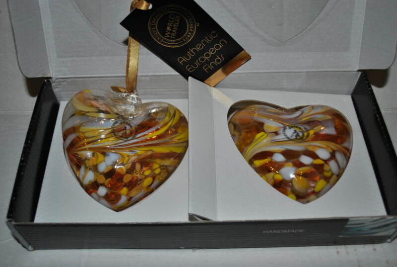 NEW ZORZA SET/2 HEART Glass Ornament HANDMADE Art Nouveau Xmas VALENTINE YELLOW