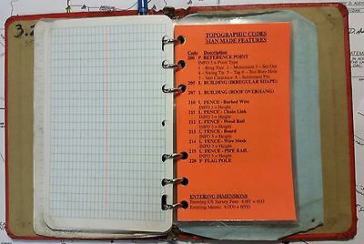 Caltrans Standard Survey And Topo Codes Field Ring Binder Booklet