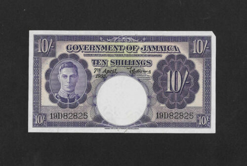 UNC- but damaged 10 shillings 1950 JAMAICA England