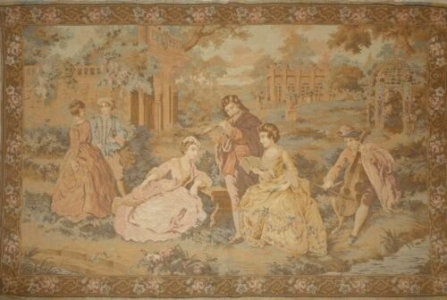 Large Antique French Chateau Tapestry Concert Scene 185cmX124cm