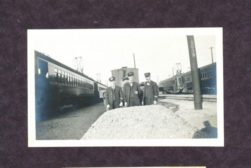 Train Conductors Posing in Rail Yard - Original B&W Railroad Photo